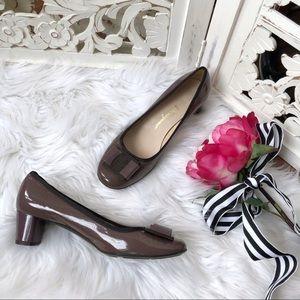 Salvatore Ferragamo Plum Patent Leather Heels